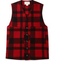 Filson Checked Mackinaw Virgin Wool Gilet Red