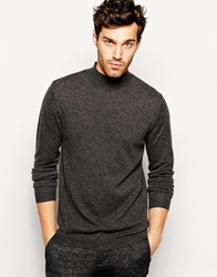 Asos Merino Turtle Neck Jumper Charcoal