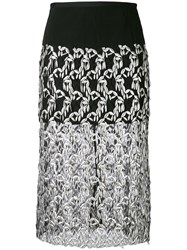 Dries Van Noten Embroidered Panel Skirt Women Polyamide Polyester 38 Black