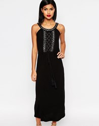 French Connection Goldie Stone Strappy Maxi Dress Tribal Green Black
