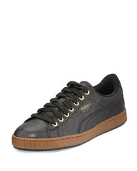 Puma Limited Edition Basket Bball Men's Low Top Sneakers Black Gold