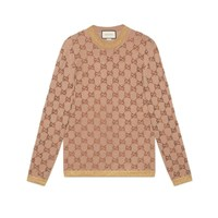 Gucci Sweater With Crystal Gg Motif Beige Wool