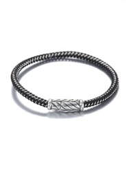 David Yurman Sterling Silver Chevron Rubber And Metal Woven Bracelet Black