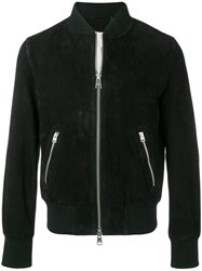 Ami Alexandre Mattiussi Zipped Suede Jacket With Ribbed Waist And Black