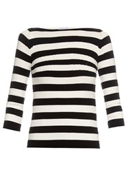 Tomas Maier Striped Boat Neck Sweater Black White