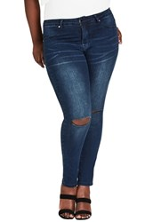 City Chic Plus Size Harley Rip Jeans Dark Denim