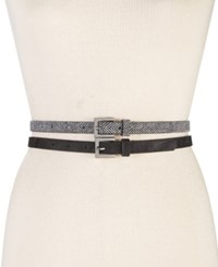 Styleandco. Style Co. Herringbone 2 For 1 Skinny Belts Only At Macy's Black