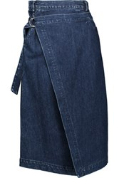 Sea Asymmetric Denim Wrap Skirt Dark Denim