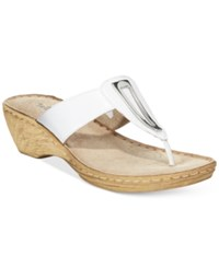 Bella Vita Sulmona T Strap Wedge Sandals Women's Shoes White