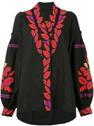 Yuliya Magdych 'Eden Tree' Blouse Women Linen Flax S Black