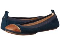 Yosi Samra Sybil Kid Suede Fold Up Flat With Burnished Croco Captoe Dark Teal Dark Whiskey Women's Flat Shoes Green