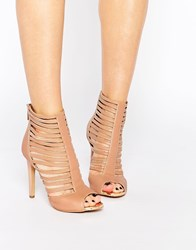 Forever Unique Boundary Caged Leather Heeled Sandals Tan