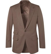 Kingsman Brown Slim Fit Unstructured Cotton Twill Suit Jacket Brown