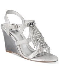 Adrianna Papell Adair Fringe Wedge Evening Sandals Women's Shoes Silver