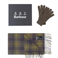 Barbour Scarf And Glove Gift Box Green