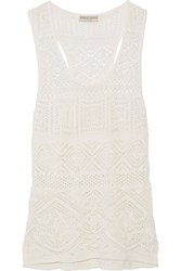 Emilio Pucci Crochet Knit Cotton Blend Tank White