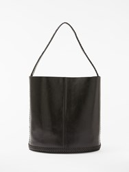And Or Isabella Leather Whipstitch Bucket Bag Black