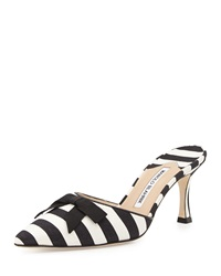 Manolo Blahnik Carolyne Mid Heel Striped Fabric Slide Black White