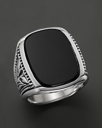 Scott Kay Men's Sterling Silver Large Engraved Ring With Onyx Silver Black