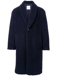 Cityshop Fleece Boa Shawl Coat Blue