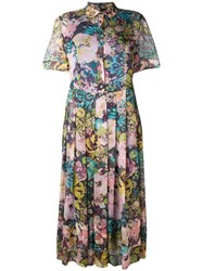 Aspesi Floral Print Pleated Shirt Dress Pink And Purple