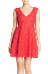 Women's French Connection 'Lizzie' Lace Fit And Flare Dress Austin Pink