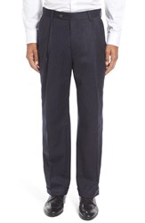 Berle Men's Big And Tall Pleated Solid Wool Trousers Heather Navy