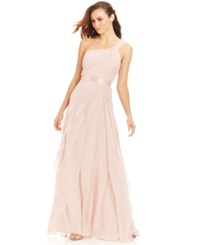 Adrianna Papell One Shoulder Tiered Chiffon Gown Blush