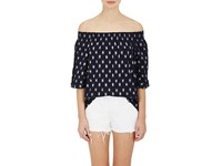 Current Elliott Women's Ikat Inspired Cotton Off The Shoulder Top Navy
