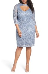 Marina Plus Size Women's Cutout Sequin Lace Sheath Dress Cornflower