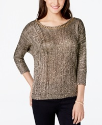Xoxo Juniors' Chain Detail Sequin Pullover Sweater Charcoal
