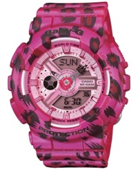 G Shock Baby G Women's Analog Digital Pink Leopard Print Resin Strap 46X43mm Bga180 4B2