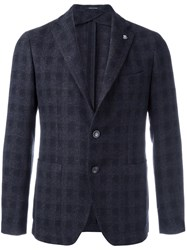 Tagliatore Plaid Single Breasted Blazer Blue