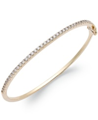 Arabella 14K Gold Over Sterling Silver Swarovski Cubic Zirconia Bangle Bracelet 1 3 4 Ct. T.W. Clear