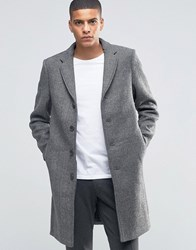 Selected Homme Herringbone Overcoat Light Grey