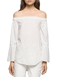 Calvin Klein Jeans Striped Off The Shoulder Top Marshmallow