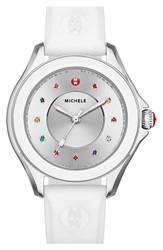 Michele 'Cape' Topaz Dial Silicone Strap Watch 40Mm White Silver