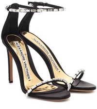 Alexandre Vauthier Carla Embellished Satin Sandals Black