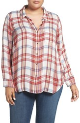 Lucky Brand Plus Size Women's 'Bungalow' Plaid Button Back Shirt Red Multi