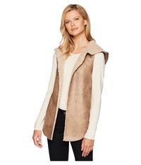 Dylan By True Grit Soft Shearling Reversible Hood Vest Khaki Natural Tan