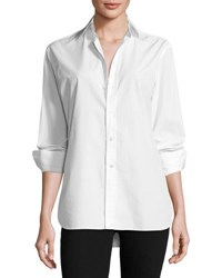 Ralph Lauren High Low Cotton Boyfriend Blouse White