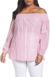Michael Michael Kors Plus Size Women's Off The Shoulder Shimmer Stripe Top Electric Pink