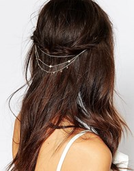 Orelia Draped Chain And Stone Hair Clips Gold