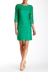 Eliza J 3 4 Length Sleeve Lace Shift Dress Green