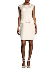 Sue Wong Peplum Lace Dress White