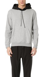 3.1 Phillip Lim Contrast Hood Sweatshirt With Zipper Light Grey