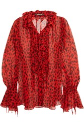 Roberto Cavalli Ruffled Leopard Print Crinkled Silk Chiffon Blouse Red