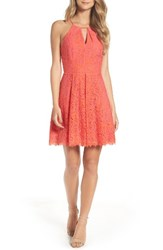 Adelyn Rae Women's Renee Lace Fit And Flare Dress Hot Pink Orange