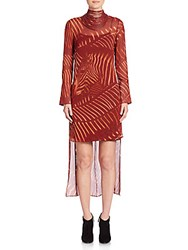 Akris Punto Zebra Print Masai Collar Silk Dress Mango
