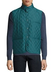 Isaia Reversible Quilted Leather Vest Bright Green
